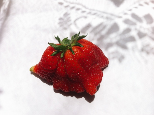 weird shape strawberry